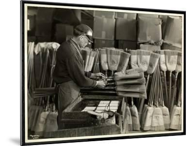Blind Man Labeling Brooms at the Bourne Memorial Building, New York, 1935-Byron Company-Mounted Giclee Print
