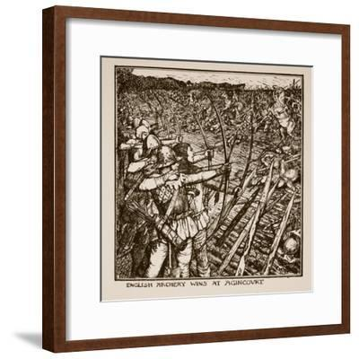 English Archery Wins at Agincourt, Illustration from 'A History of England'-Henry Justice Ford-Framed Giclee Print