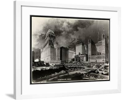 Photograph of a Drawing of Subway Routes around Pershing Square by H. Bierdermann, 1919-Byron Company-Framed Giclee Print