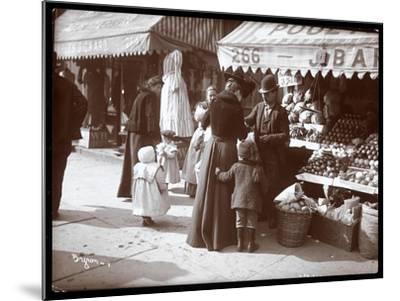 View of Women with Children Shopping at a Fruit and Vegetable Stand at 266 7th Avenue, New York,…-Byron Company-Mounted Giclee Print