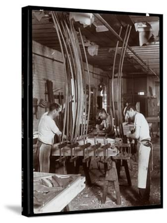 Men Working in a Piano Factory, 1907-Byron Company-Stretched Canvas Print