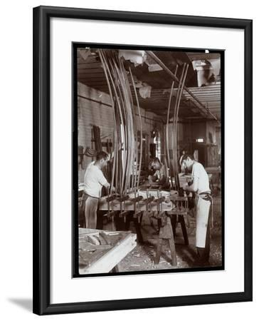 Men Working in a Piano Factory, 1907-Byron Company-Framed Giclee Print