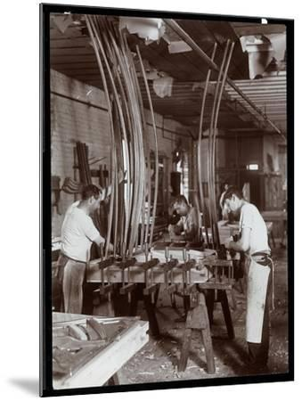 Men Working in a Piano Factory, 1907-Byron Company-Mounted Giclee Print