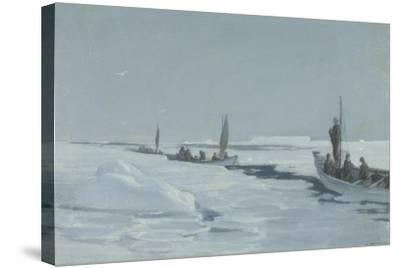 Sailing Towards Elephant Island Through Open Pack Ice, Weddell Sea-George Marston-Stretched Canvas Print