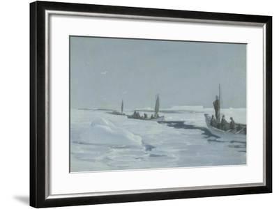 Sailing Towards Elephant Island Through Open Pack Ice, Weddell Sea-George Marston-Framed Giclee Print