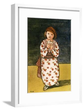 Girl with Dove, 1986-Gillian Lawson-Framed Giclee Print