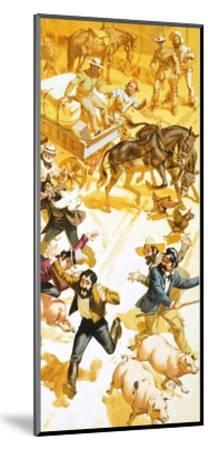 A Man Runs Through the Streets of San Francisco Announcing the Discovery of Gold-Angus Mcbride-Mounted Giclee Print