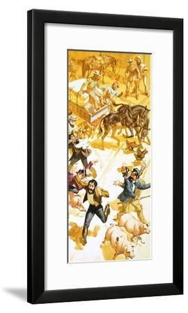 A Man Runs Through the Streets of San Francisco Announcing the Discovery of Gold-Angus Mcbride-Framed Giclee Print