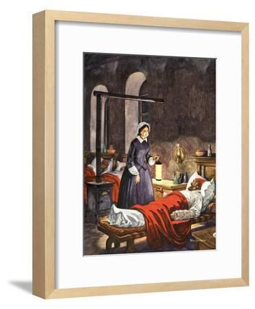 Florence Nightingale. The Lady with the Lamp, Visiting the Sick Soldiers in Hospital-Peter Jackson-Framed Giclee Print