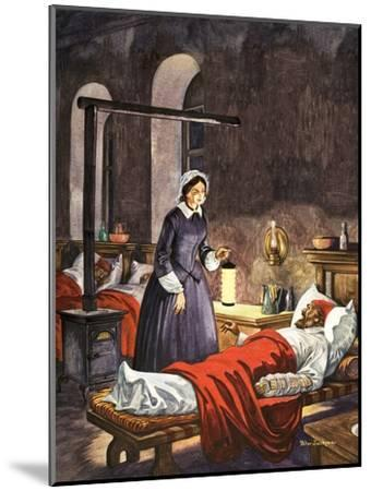 Florence Nightingale. The Lady with the Lamp, Visiting the Sick Soldiers in Hospital-Peter Jackson-Mounted Giclee Print