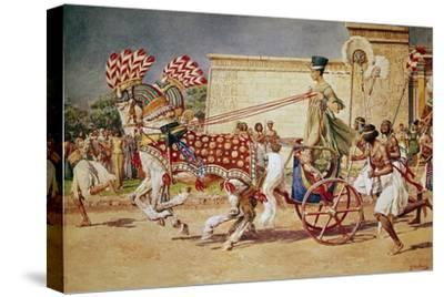 Nefertiti in Her Royal Chariot-Fortunino Matania-Stretched Canvas Print