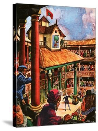 Shakespeare Performing at the Globe Theatre-Peter Jackson-Stretched Canvas Print