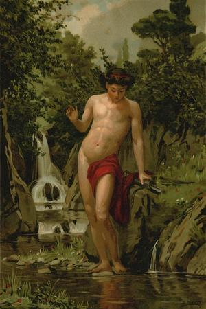 Narcissus in Love with His Own Reflection-Dionisio Baixeras-Verdaguer-Stretched Canvas Print