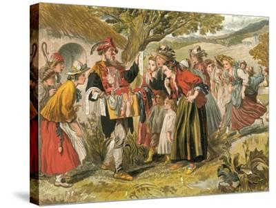 Come Buy of Me-Sir John Gilbert-Stretched Canvas Print