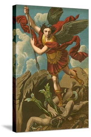 St Michael Vanquishing Satan-Raphael-Stretched Canvas Print