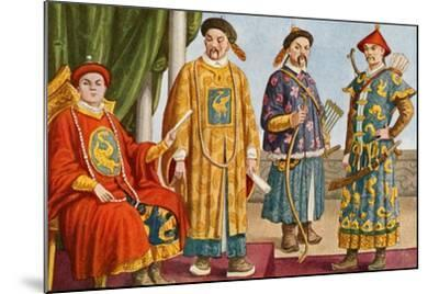 Chinese Costumes - Emperor, Mandarin, and Military Mandarin-Tancredi Scarpelli-Mounted Giclee Print