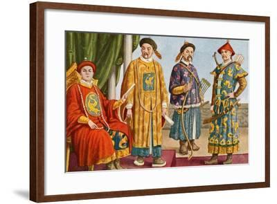 Chinese Costumes - Emperor, Mandarin, and Military Mandarin-Tancredi Scarpelli-Framed Giclee Print