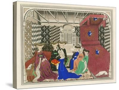 Christine de Pisan, Presenting Her Book to the Queen of France, Early 15th Century-Henry Shaw-Stretched Canvas Print