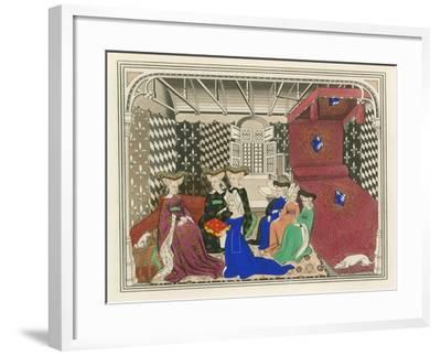 Christine de Pisan, Presenting Her Book to the Queen of France, Early 15th Century-Henry Shaw-Framed Giclee Print