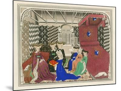 Christine de Pisan, Presenting Her Book to the Queen of France, Early 15th Century-Henry Shaw-Mounted Giclee Print