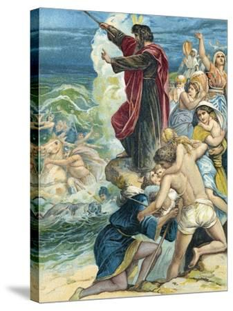 Moses Crossing the Red Sea-German School-Stretched Canvas Print