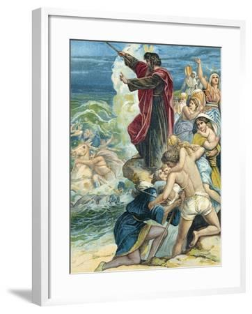 Moses Crossing the Red Sea-German School-Framed Giclee Print