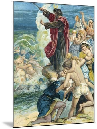 Moses Crossing the Red Sea-German School-Mounted Giclee Print