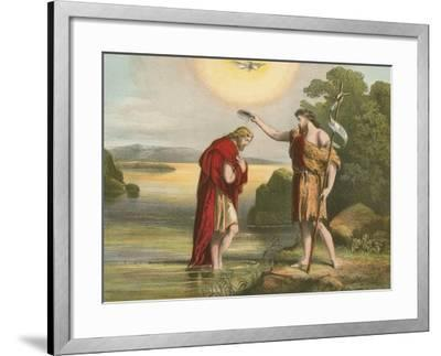 Baptism of Jesus by John the Baptist-English School-Framed Giclee Print