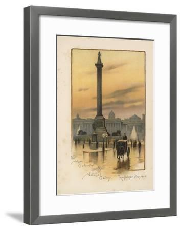 The Nelson Column, the National Gallery, Trafalgar Square-English School-Framed Giclee Print