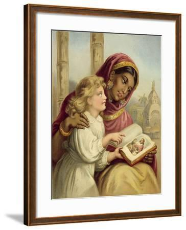 A Scripture Lesson - Indian Girl Teaching an English Child-English School-Framed Giclee Print