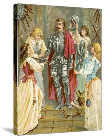 Christian in the Armoury Receiving His Weapons from Discretion, Piety, Charity and Prudence-English School-Stretched Canvas Print
