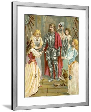 Christian in the Armoury Receiving His Weapons from Discretion, Piety, Charity and Prudence-English School-Framed Giclee Print