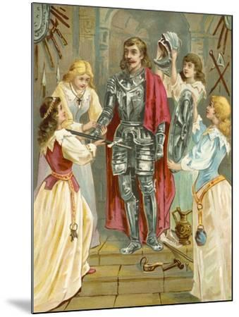 Christian in the Armoury Receiving His Weapons from Discretion, Piety, Charity and Prudence-English School-Mounted Giclee Print