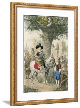 The Royal Oak, the Penderell Family Have No Idea Where Charles Is!!!-John Leech-Framed Giclee Print
