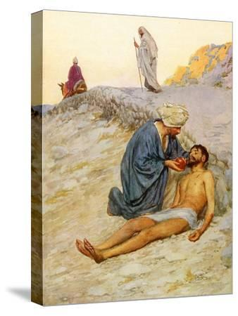 The Good Samaritan-William Henry Margetson-Stretched Canvas Print