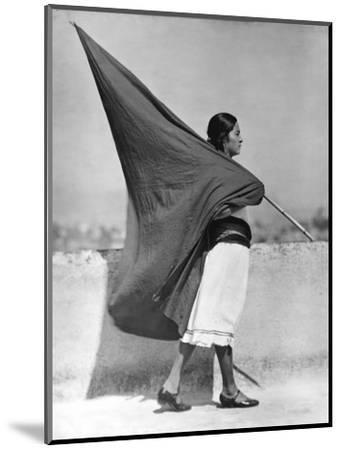 Woman with Flag, Mexico City, 1928-Tina Modotti-Mounted Photographic Print