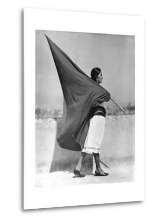 Woman with Flag, Mexico City, 1928-Tina Modotti-Metal Print