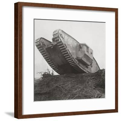 A Tank Leads the Infantry into Action and Breaks Down the Wire Entanglements-English Photographer-Framed Photographic Print