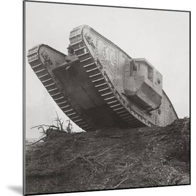 A Tank Leads the Infantry into Action and Breaks Down the Wire Entanglements-English Photographer-Mounted Photographic Print