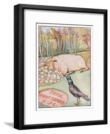 And the Sheep Went to Sleep, Illustration from 'Johnny Crow's Party', c.1930-Leonard Leslie Brooke-Framed Giclee Print
