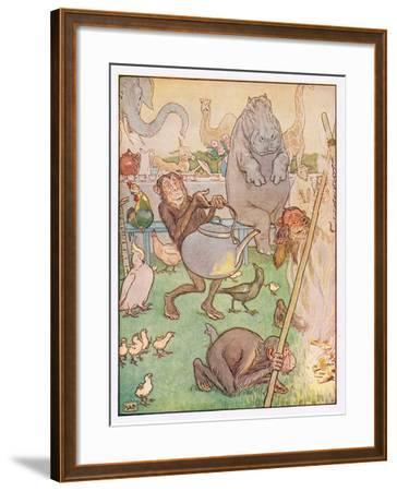 So the Chimpanzee Put the Kettle on for Tea, Illustration from 'Johnny Crow's Party', c.1930-Leonard Leslie Brooke-Framed Giclee Print