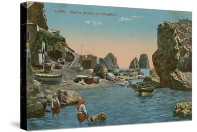 Small Marina and the Faraglioni, Capri. Postcard Sent in 1913-Italian Photographer-Stretched Canvas Print
