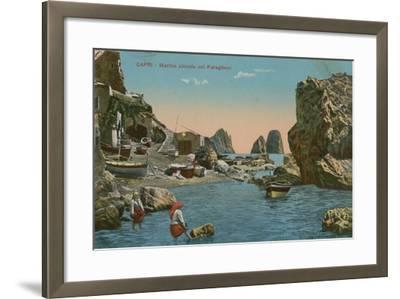 Small Marina and the Faraglioni, Capri. Postcard Sent in 1913-Italian Photographer-Framed Giclee Print