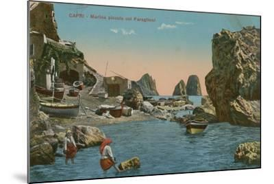 Small Marina and the Faraglioni, Capri. Postcard Sent in 1913-Italian Photographer-Mounted Giclee Print
