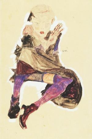 Seated Girl with Striped Stockings; Sitzendes Madchen Mit Gestreiften Strumpfen, 1910-Egon Schiele-Stretched Canvas Print