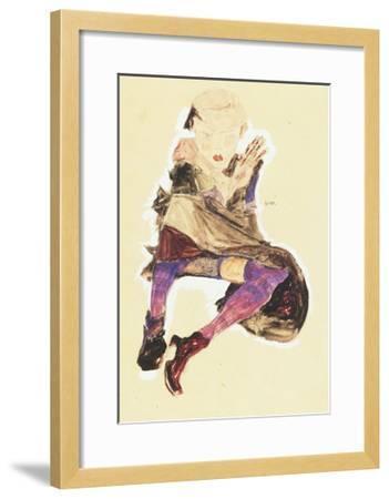 Seated Girl with Striped Stockings; Sitzendes Madchen Mit Gestreiften Strumpfen, 1910-Egon Schiele-Framed Giclee Print