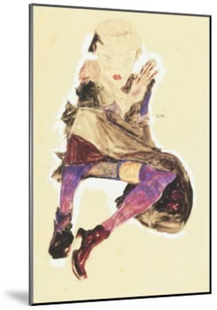 Seated Girl with Striped Stockings; Sitzendes Madchen Mit Gestreiften Strumpfen, 1910-Egon Schiele-Mounted Giclee Print