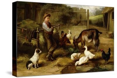 A Boy with Poultry and a Goat in a Farmyard, 1903-Charles Hunt-Stretched Canvas Print