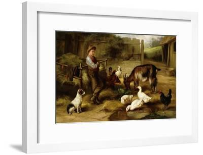 A Boy with Poultry and a Goat in a Farmyard, 1903-Charles Hunt-Framed Giclee Print