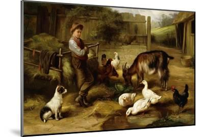 A Boy with Poultry and a Goat in a Farmyard, 1903-Charles Hunt-Mounted Giclee Print